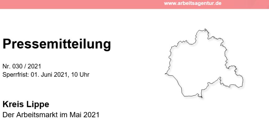Pressemitteilung der Agentur für Arbeit Detmold: Der Arbeitsmarkt im Mai 2021 in Lippe